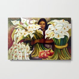 1938 Classical Masterpiece 'Alcatraces Flower Seller' by Diego Rivera Metal Print