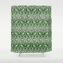 German Shepherd fair isle christmas pattern dog gifts dog breeds pet art holiday green and white Shower Curtain