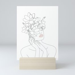 Minimal Line Art Woman with Magnolia Mini Art Print
