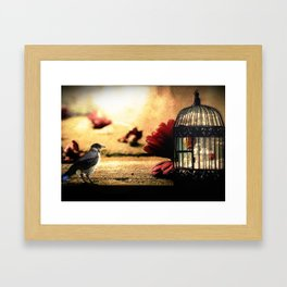 Crow and Caged Freedom Framed Art Print