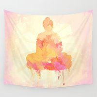 shiva Wall Tapestries featuring Buddha art illustration watercolor by Thubakabra