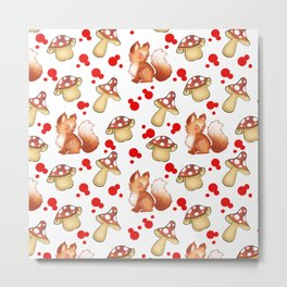 Cute foxes, wild forest mushrooms and red retro dots seamless nature pattern design. Fall season. Metal Print