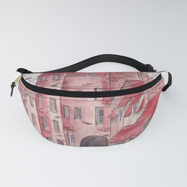 English castle watercolor illustration Fanny Pack