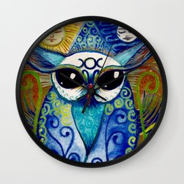 By all the Might of Moon & Sun,  Owl.  Print of original illustration by Artist Sheridon Rayment Wall Clock