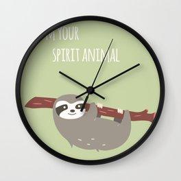 Sloth card - I'm your spirit animal Wall Clock