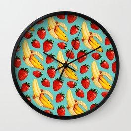Strawberry Banana Pattern Wall Clock