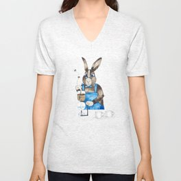 Rabbit brewing coffee with siphon Unisex V-Neck