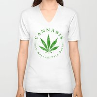 cannabis V-neck T-shirts featuring Cannabis by PsychoBudgie