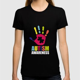 Autism Awareness Colorful Hand design Gift for Mom T-shirt