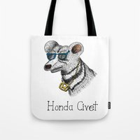 honda Tote Bags featuring Honda Civet by Mike Rubenstein