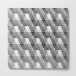 Grey Geometric Distressed Pattern Metal Print