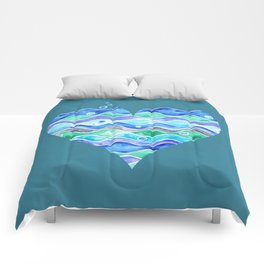 A Sea of Love (blue) Comforters