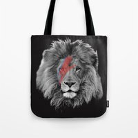 david bowie Tote Bags featuring David Bowie Lion by Urban Exclaim Co.