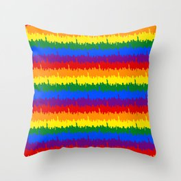 Manhattan Skyline NY Pride Rainbow Stripe Throw Pillow