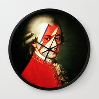 mozart Wall Clocks featuring Mozart Bowie by rodalume