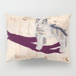 Vintage Fabric Stuffed Cat in Gouache Pillow Sham