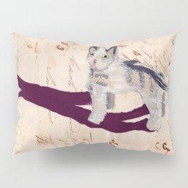 Vintage Fabric Stuffed Cat in Gouache Pillow Sham