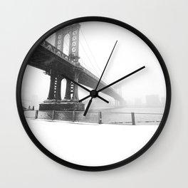 Manhattan Bridge in Faded Snow Wall Clock