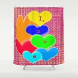 coloured love hearts Shower Curtain