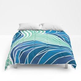 Green Mermaid Tail in a swirling Ocean Comforters