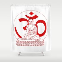 ohm Shower Curtains featuring OHM by Kyle Griffis Illustration