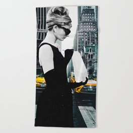 """Photo Montage """"Audrey in The City"""" Beach Towel"""