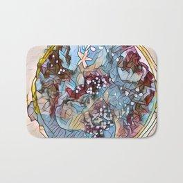 Star Galaxy Teal Purple Brown Mandala watercolor by CheyAnne Sexton Bath Mat