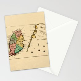 Map Of Grenada 1758 Stationery Cards