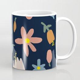 Blooming in the Navy (Handmade Floral Pattern) Coffee Mug