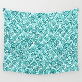 AQUA LIKE A MERMAID Fish Scales Wall Tapestry