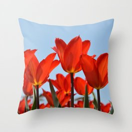 Bright Red Tulips Throw Pillow