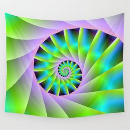 Turquoise Lilac and Green Spiral Wall Tapestry