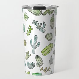 Cute Green Watercolor Paint Summer Cactus Pattern Travel Mug