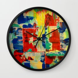 Ice and Heat...polar Opposites!: Abstract Acrylic Painting with neon and bright colors Wall Clock
