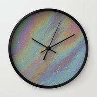 oil Wall Clocks featuring Oil by Renee Trudell