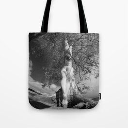 9102-LP Tree of Life Nature Goddess Earth Mother One with the Tree BW Fine Art Nude Tote Bag