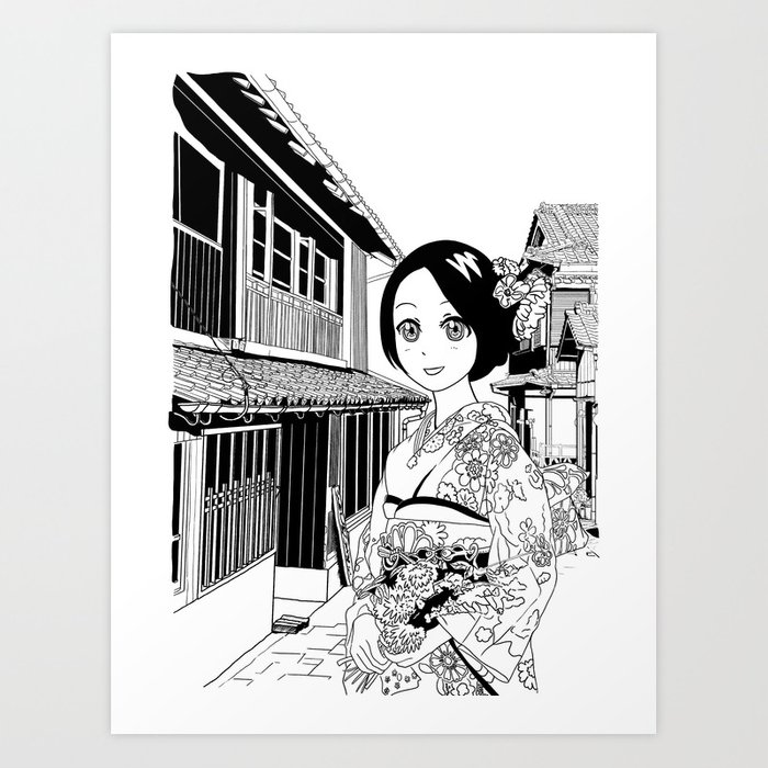 Kimono girl (manga style drawing) Art Print