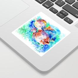 Underwater Scene Artwork, Discus Fish, Turquoise blue pink aquatic design Sticker