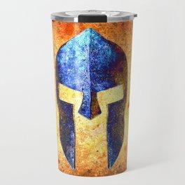 Blue Spartan Helmet On Rust Background - Molon Labe Travel Mug