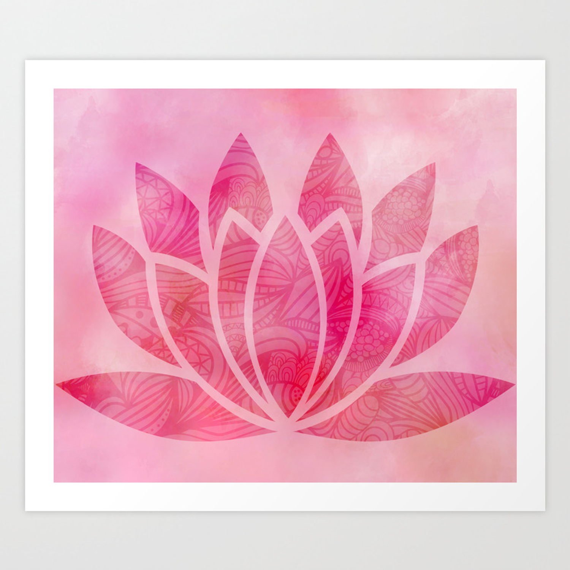 Zen Watercolor Lotus Flower Yoga Symbol Art Print By Ruthart Society6