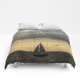 Sailboat Sailing in Lake Michigan beneath Sunbeams Comforters