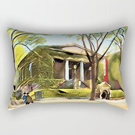 Providence Athenæum Library Benefit Street Landscape Painting by Jeanpaul Ferro Rectangular Pillow