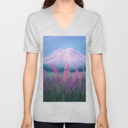 Fireweed Phenomenon on Mount Rainier Unisex V-Neck