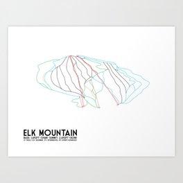 Elk Mountain, PA - Minimalist Winter Trail Art Art Print
