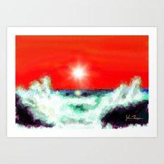 Rocky beach wave Art Print