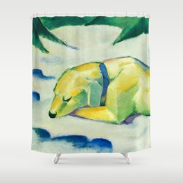 "Franz Marc ""Dog Lying in the snow"" Shower Curtain"