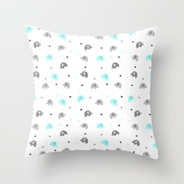Baby Blue Elephants Throw Pillow