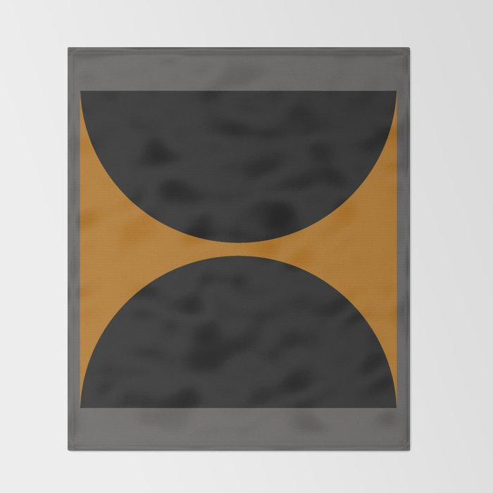 Black and Gray Gradient with Gold Squares and Half Circles Digital Illustration - Artwork Throw Blanket