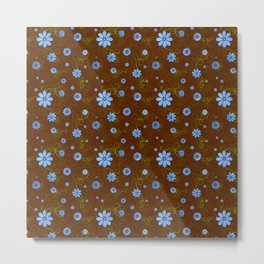 Dainty Blue Flower on Brown Background Metal Print