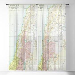 Old 1020BC Saul Palestine Map Sheer Curtain
